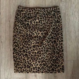 Dresses & Skirts - Leopard Pencil Skirt w/ Red Back Zipper